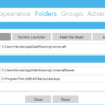 The folder settings window