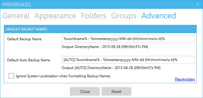 The advanced settings window